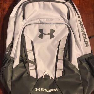 Gray and White UA Book Bag